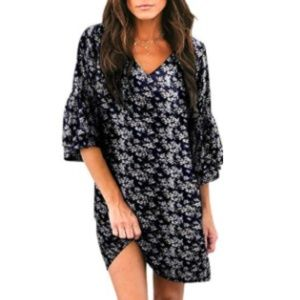 Womens V-Neck Bell Sleeve Shift Dress Black Floral